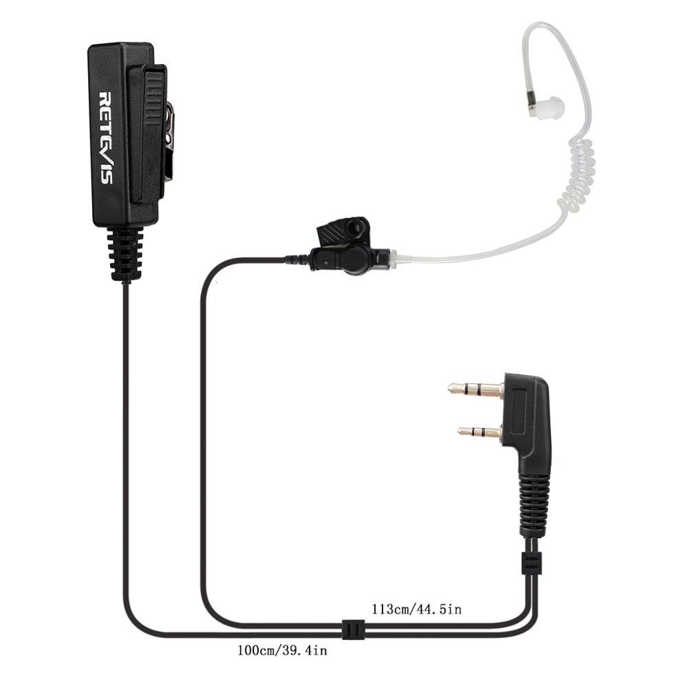 RETEVIS 2 PIN Covert Acoustic Tube Earpiece MIC for KENWOOD Radio RETEVIS QUANSHENG TYT BAOFENG UV5R 888S Black New