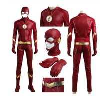 Disfraz Flash para hombre y adulto, uniforme rojo, temporada 4, disfraz de Barry Allen Flash, Carnaval, disfraces de fiesta de Halloween