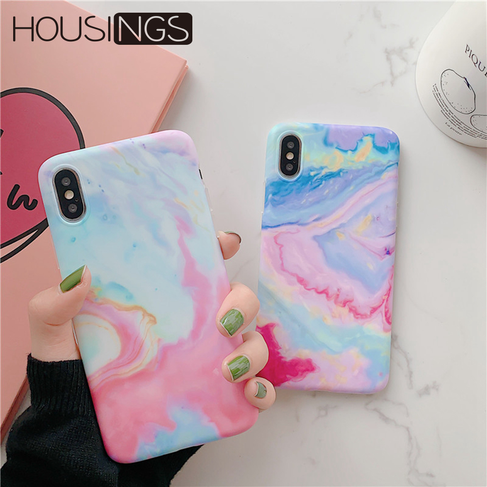 For iPhone 7 8 Plus Colorful Marble Phone Case XS XR Soft TPU Back Cover Max Silicone