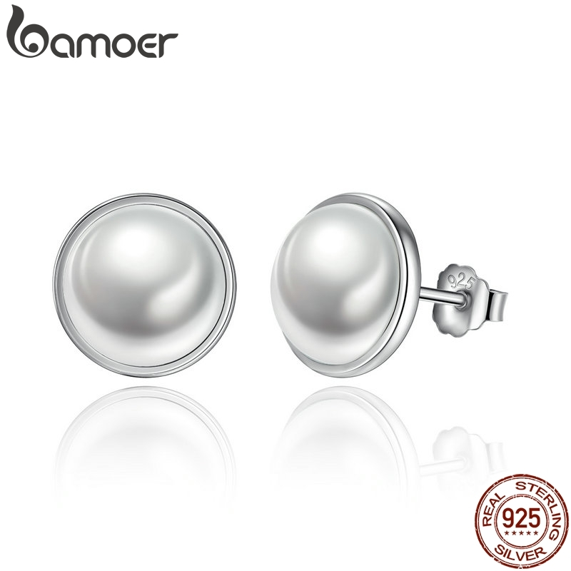 BAMOER Fashion 925 Sterling Silver Elegant Beauty, Round White Pearl Stud Earrings Women Engagement Jewelry Brincos PAS489