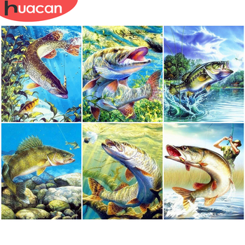 HUACAN DIY Painting By Number Fish Hand Painted Paintings Art Drawing On Canvas Gift Pictures By Numbers Animal Kits Home Decor