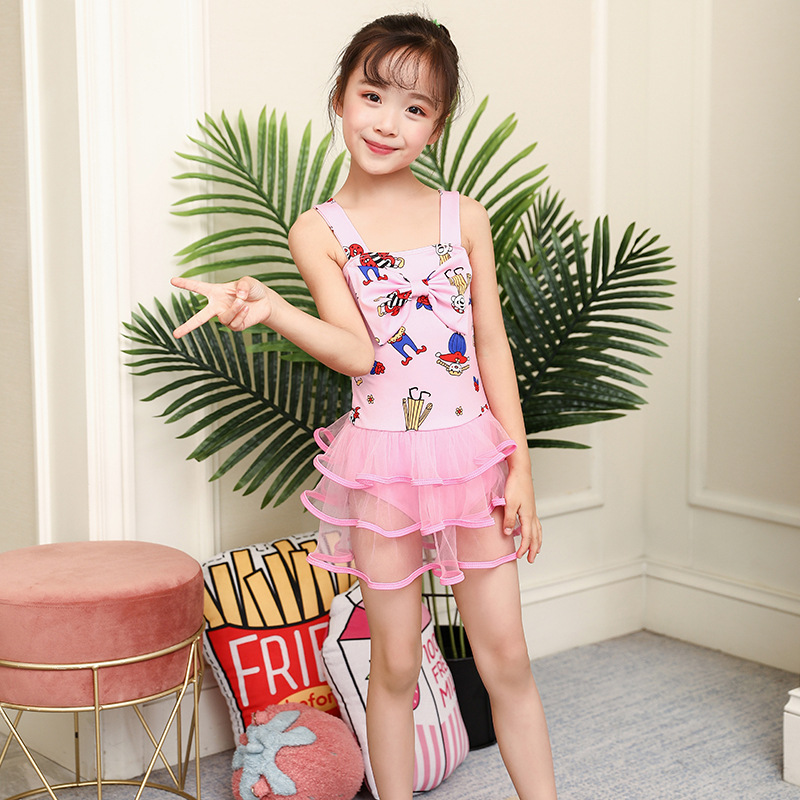 New Style Korean-style One-piece Swimming Suit Cute Bow Age Of 3-5 GIRL'S Swimsuit Female Baby Cartoon Figure Swimming Suit