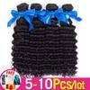 5-10 Pcs/Lot Deep Wave Bundles Deal Hair Extensions Bulk Sale Human Hair 8-26inch Natural Color For Black Women Bulk Sale