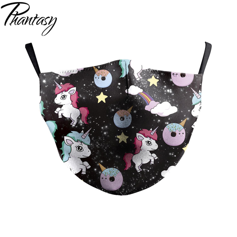 Phantasy Fashion Multicolor Unisex Adults Cute Cartoon Unicorn Printed Face Mask Dustproof Mouth Cover Washable Pluggable Filter