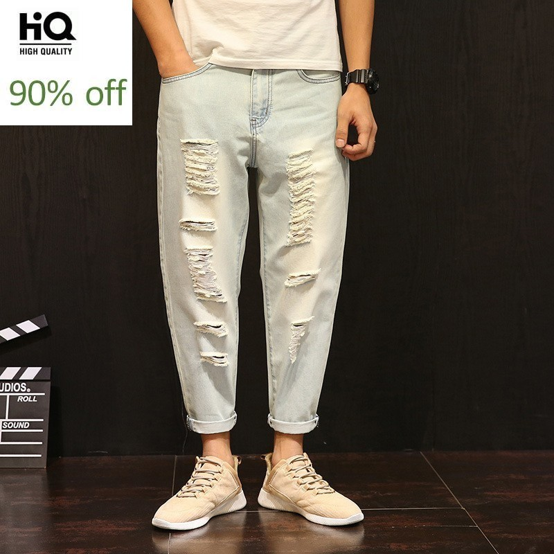 Mens Hole Ripped Ankle Length Jeans Loose Korean Style Pencil Baggy Denim Pants Plus Size 42 Student Beggar Cowboy Pants Male