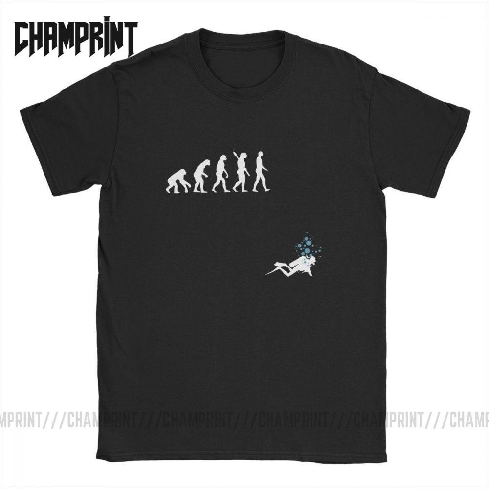 Evolution Of Man Funny Scuba Diving T-Shirt Men Cotton T Shirts Dive Diver Sea Snorkeling Sports Tee Shirt Short Sleeve Tops