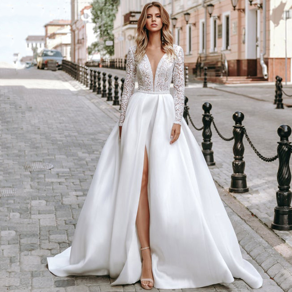 Eightree Long Sleeve Lace Wedding Dresses Satin V Neck Bridal Dress High Split A-line 2020 Wedding Gown Plus Size Robe De Mariee