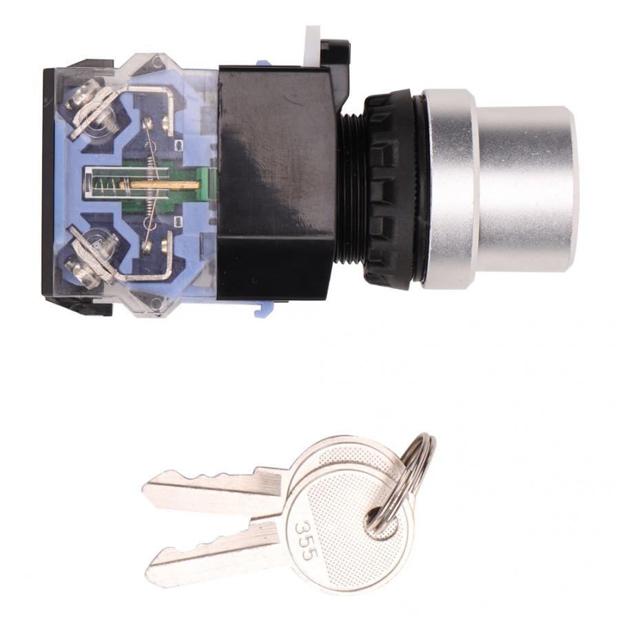 Interrupteur de verrouillage des clés 10 pièces BEM38-20Y/33 3 positions 22mm interrupteur à clé marche/arrêt/marche interrupteur à clé de réinitialisation automatique
