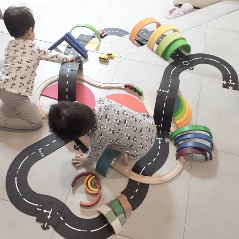 Crianças diy tráfego estrada pista quebra-cabeça educacional pvc crianças construção de estrada brinquedo da auto-estrada carros removíveis veículo trilha meninos presente