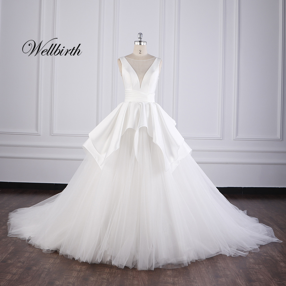 100% Real Picture Wellbirth Vestido De Novia Tulle  Lace  Ball Gown Wedding Dress Cap Sleeve V-neck Bridal Gown JS001