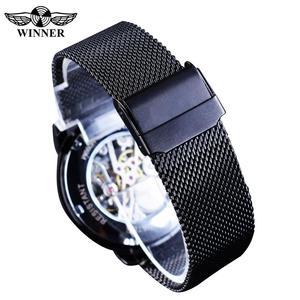 Image 5 - Winner relojes mecánicos para hombre, correa de malla de acero inoxidable analógica, de cuerda a mano, delgada, Simple