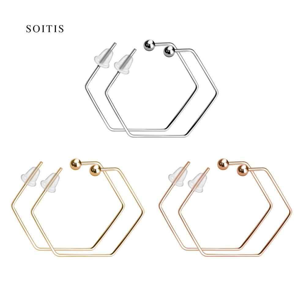 SOITIS Brincos 2019 Punk przesadzone sześciokątne geometryczne kolczyki biżuteria otwórz stadniny kolczyki dla kobiet dziewczyna prezent