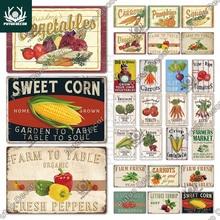 Putuo Decor Vegetable Vintage Tin Sign Metal Sign Decorative Plaque Wall Decor Farm Garden Living Room Kitchen Decoration
