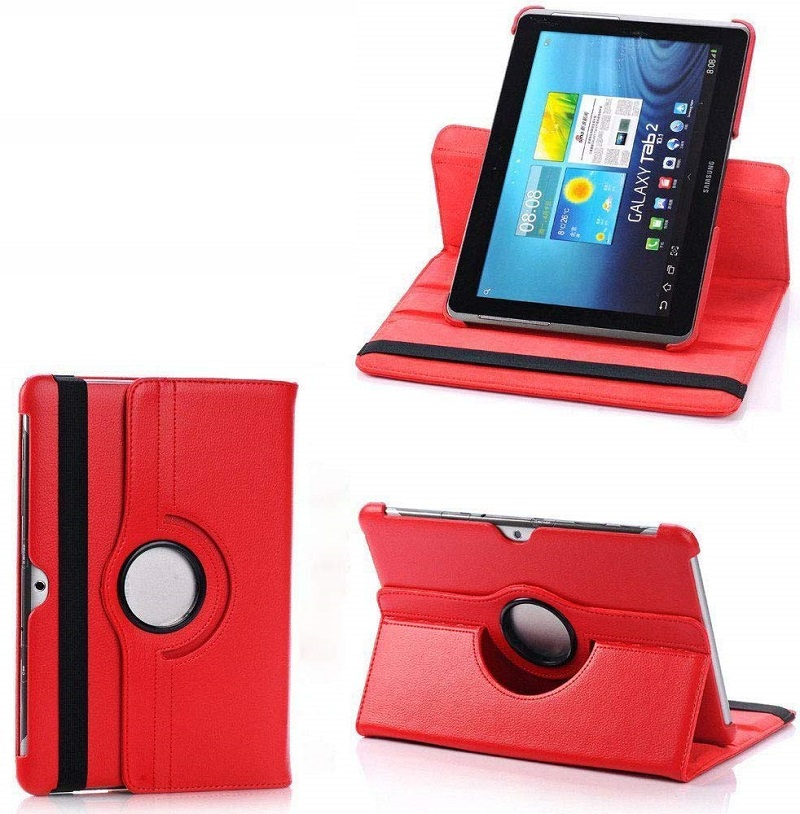 360 Degree Rotating Case for <font><b>Samsung</b></font> Galaxy Tab 2 10.1 <font><b>GT</b></font> P5100 P5110 P5113 Tab 2 Tablet Cover Folio Pu Leather Stand Smart Capa image