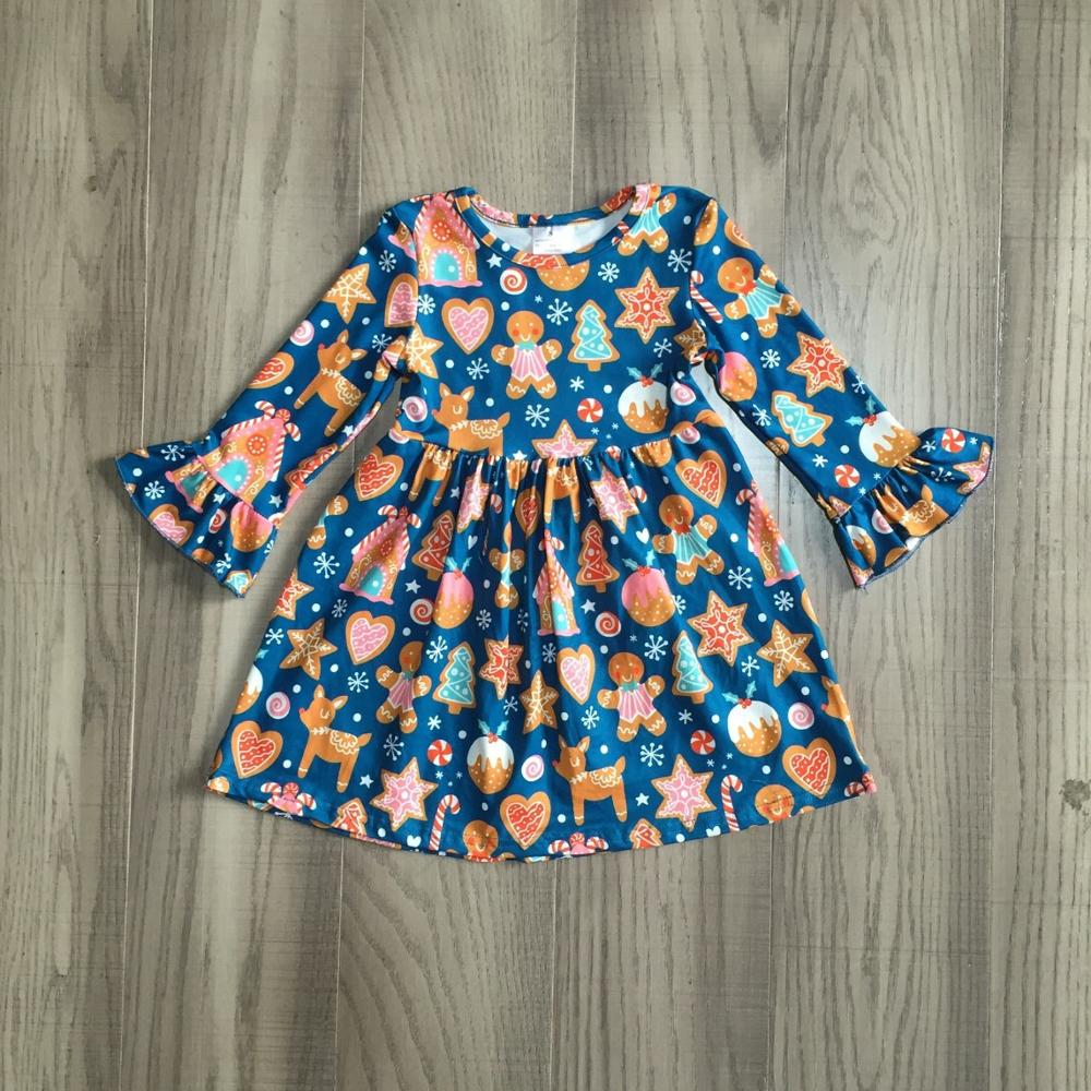 Exclusive Girlymax Christmas Girls Children Clothes Baby Santa Claus Fall/Winter Long Sleeve Ruffles Milk Silk Dress Boutique 4