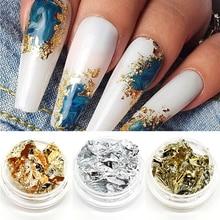 Gold Irregular Aluminum Foil Glitter Flakes For Nails Sequins Chrome Powder Manicure 3D Nail Art Decorations DIY Accessories