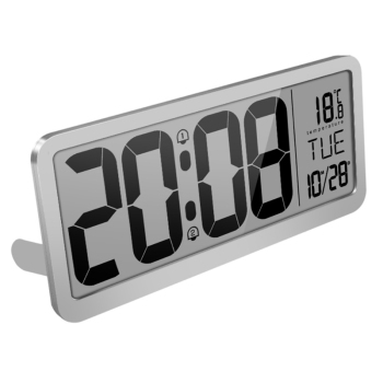 Battery Powered Digital Wall Clock With 2 Alarm Settings Adjustable Volume Large LCD Screen Display Time Date Weekday Temperatur