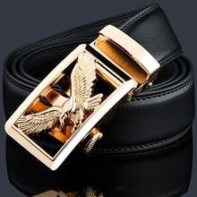KWD Роскошный Золотой орел металлическая Автоматическая пряжка поясной ремень дизайнерские ремни мужские Высокое качество корова натуральная кожа Kemer для джинсов