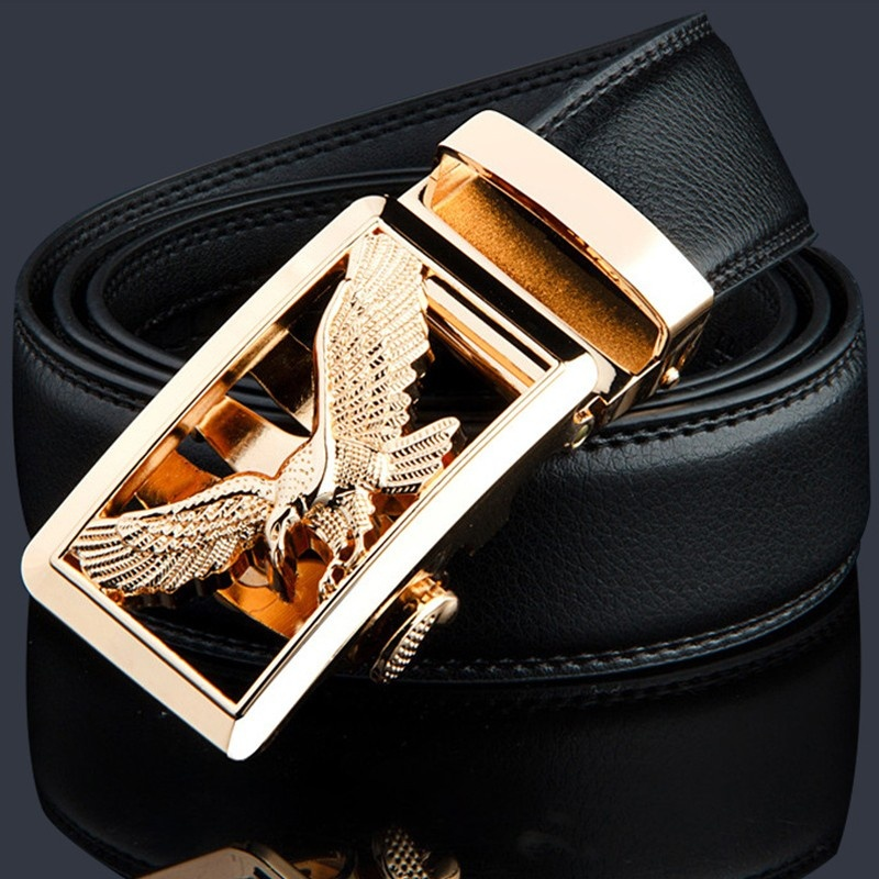 KWD Luxury Gold Eagle Metal Automatic Buckle Waist   Belt   Designer   Belts   Men's High Quality Cow Genuine Leather Kemer for Jeans