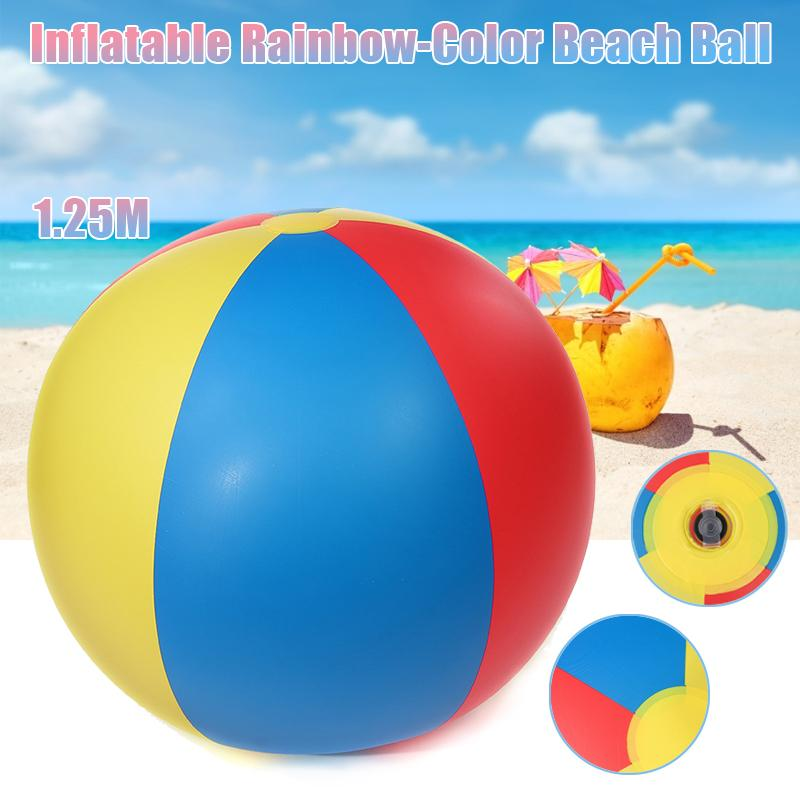 1.25m High Quality  Inflatable Rainbow-Color Beach Ball Swimming Pool Beach Grass Game Balls Kid Children Water Beach Gift Toy