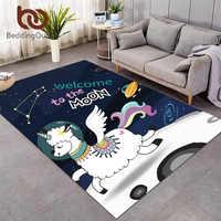 Alfombrillas de unicornio para el espacio de la sala de estar alfombra de área de Llama dibujo de alpaca piso de oveja alfombra de dormitorio para niños Moon Galaxy tapiss
