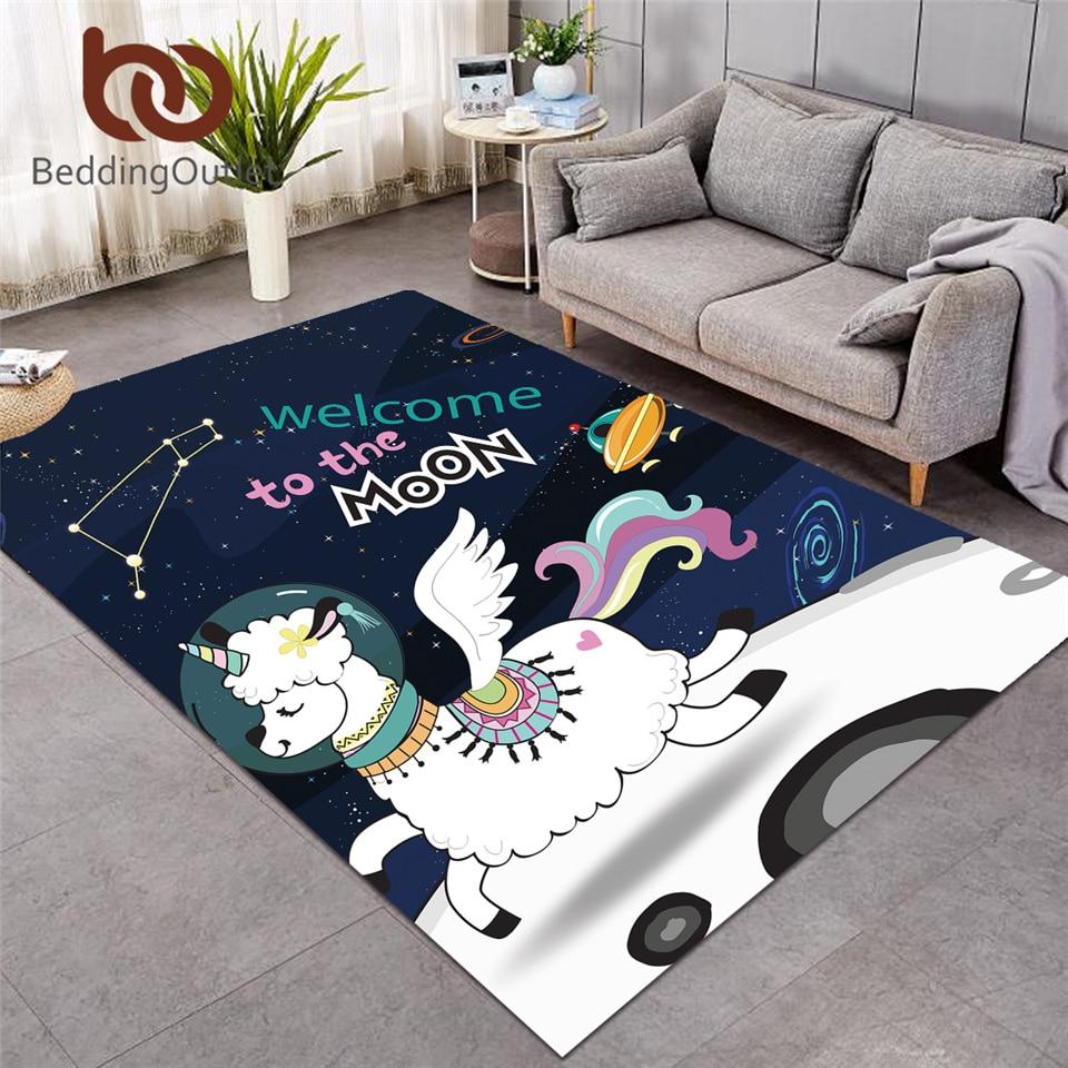 BeddingOutlet licorne tapis pour salon espace lama tapis bande dessinée alpaga mouton sol enfants chambre tapis lune galaxie tapis