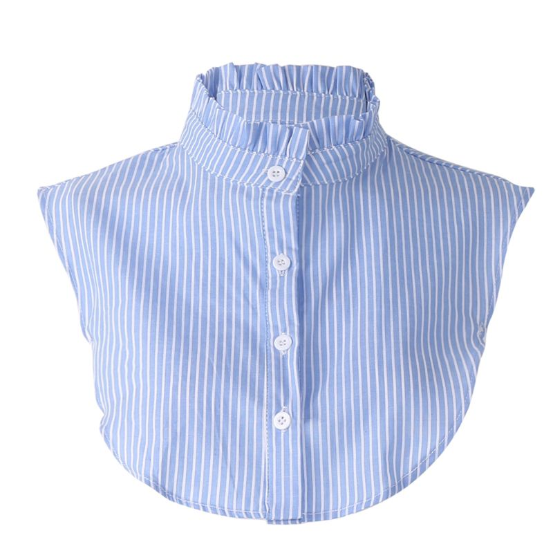 Women Detachable Dickey False Fake Collar Ruffle Striped Shirt Clothes Accessory