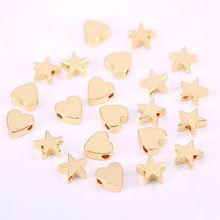150Pcs 8mm Gold Star /Heart Spacer Beads for Bracelet and Ne