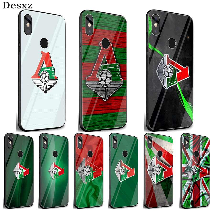 Mobile Phone Glass Case For Xiaomi Note 5 6 7 Pro F1 A1 A2 4X 5X 6X 9 Cover TPU Moscow locomotive logo Shell