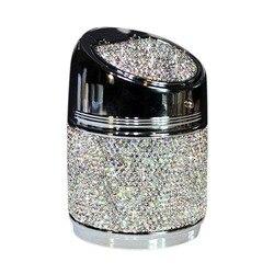 Diamentowa popielniczka samochodowa błyszcząca Auto popielniczka z pokrowcem na samochód świetny prezent dla kobiet dziewczynki srebrzyste