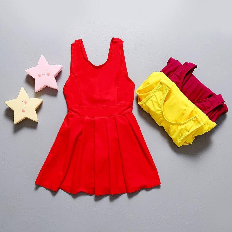 Girls Hot Springs Bathing Suit Conservative CHILDREN'S Swimsuit Solid Color Dress-Tour Bathing Suit Small Children Student Unifo