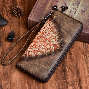 Vintage Female Wrist Purse Clutch Bags Multi-Cards Handy Bag High Quality Women Genuine Leather Embossed Long Zipper Wallet(China)