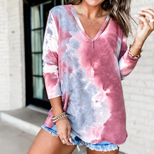 Women's Tie Dye V-neck Top Long Sleeve T-shirt Fashion Explosive Hits Loose Gradient Multicolor Rainbow Printing Clothes