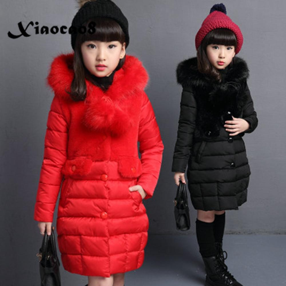 Fashion Kids Winter Jacket Girls Fur Hooded Cotton Coat Kids Thicken Warm Outerwear Long Jackets Warm Coat Teens Children Parkas