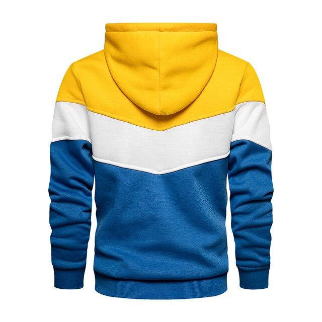 Men's Patchwork Hooded Sweatshirt Hoodies Clothing Casual Loose Fleece Warm Streetwear Male Fashion Autumn Winter Outwear 6