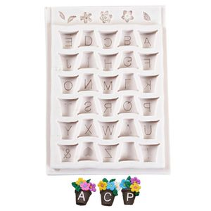 3D Alphabet Silicone Mold Turn Sugar Silica Mold Small Flower Letter Pot DIY Chocolate Mold Cake Decorating Tools