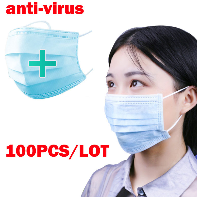 100PCS 3 Layers Dustproof Disposable Protective Mask Facial Protective Cover Masks Maldehyde Prevent Bacteria Anti-virus Masks
