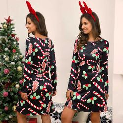 Women's Xmas Dress Snowman Snow Reindeer Long Sleeve Christmas Party A-Line Mini Dress Plus Size S-3XL 2