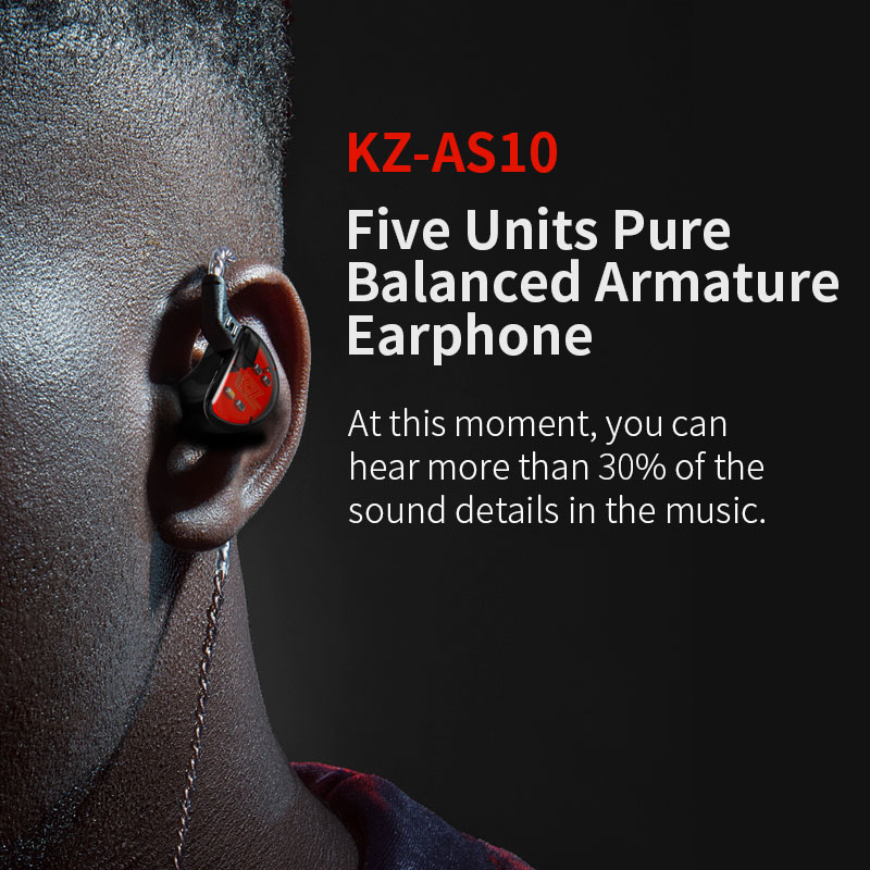 KZ AS10 5BA Driver Unit In Ear Earphone 5 Balanced Armature HIFI Monitor Stage Sports DJ Running Resolution IEM 2Pin BA10 AS16