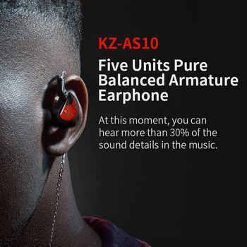 KZ AS10 5BA Driver Unit In Ear Earphone 5 Balanced Armature HIFI Monitor Stage Sports DJ Running Resolution IEM 2Pin BA10 AS16
