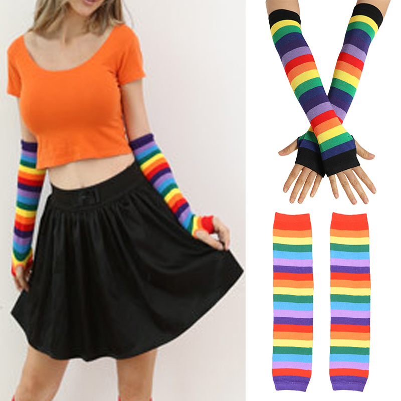 Rainbow Stripe Arm Warmers Long Sleeve Sunscreen Cotton Arm Sleeve With Glovers Ladies Fingerless Mittens Gloves High Quality