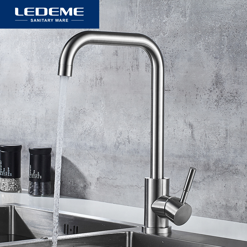 LEDEME Kitchen Faucet Stainless Steel Single Handle Single Hole Tap Brushed Kitchen Mixer Kitchen Faucets  Taps L74998A-4