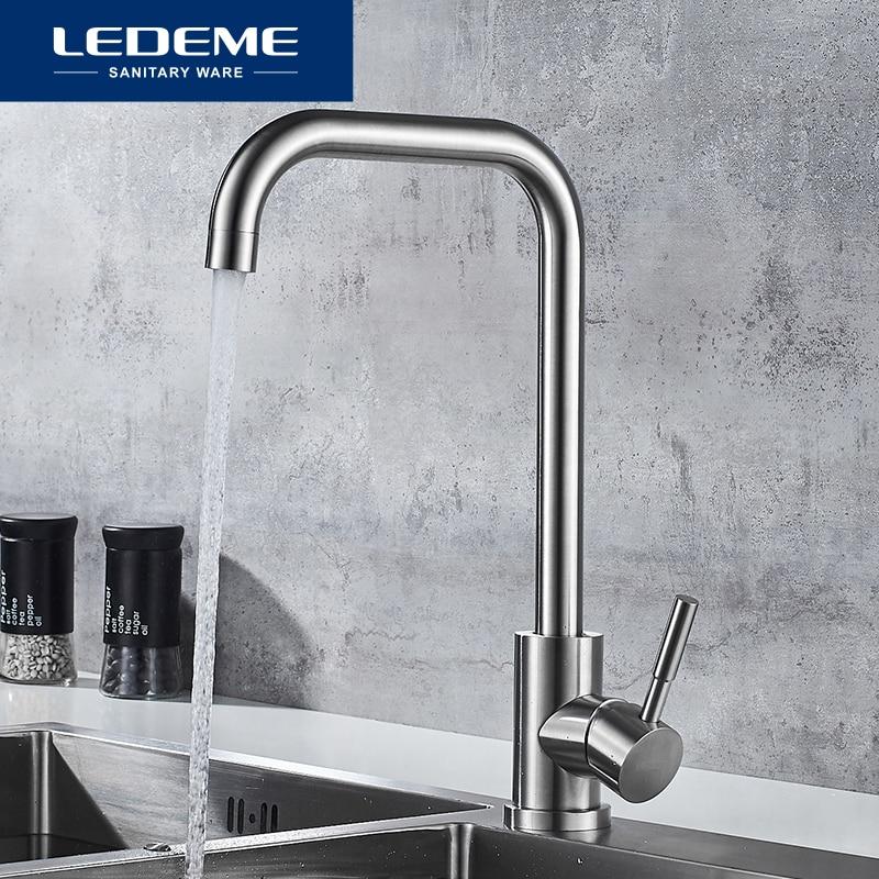 LEDEME Kitchen Faucet Stainless Steel Single Handle Single Hole Tap Brushed Kitchen Mixer Kitchen Faucets  Taps L74998A-4