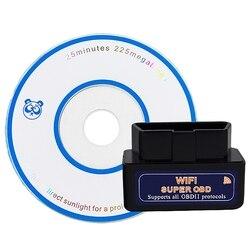Super Mini Elm327 Wifi detektor samochodów sprzęt diagnostyczny wsparcie podwójny System 25K80 rdzeń (czarny)