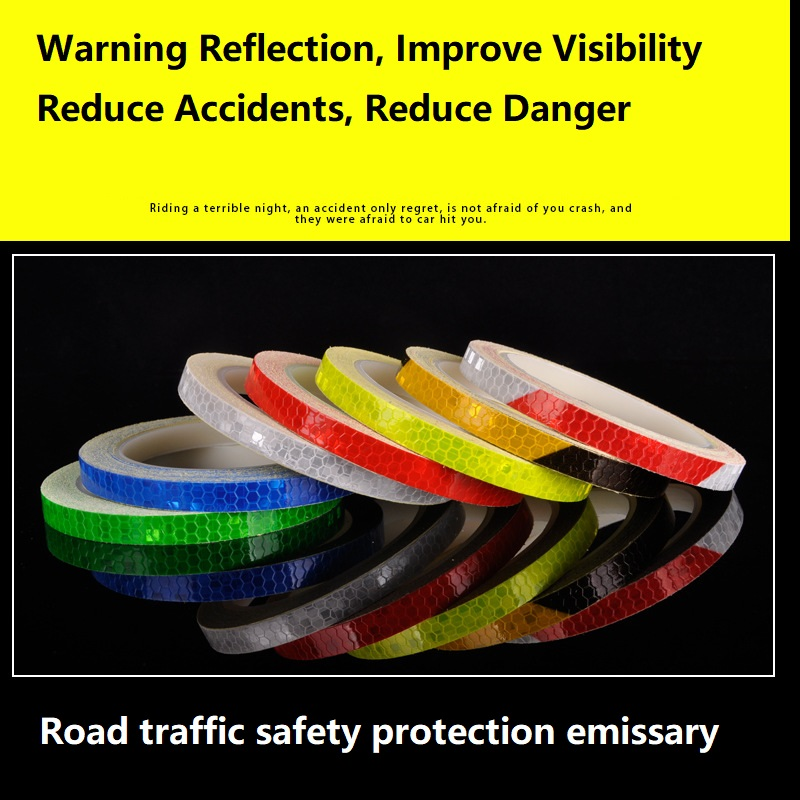 1CM*8M Night Light Safety Equipment Bicycles Motorcycles Wheels Body Reflective Stickers Reflective Warning Self-adhesive Tape