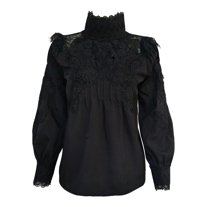 Europe And America 2020 Spring New Style Debutante Elegant Solid Color Embroidery Lace Joint Stand Collar Long Sleeve