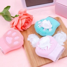 Mini Electric Massage Brush Cat Claw Shape Silicone Facial Cleansing Brush Cleaning Shrinking Pores Face Washing Brush