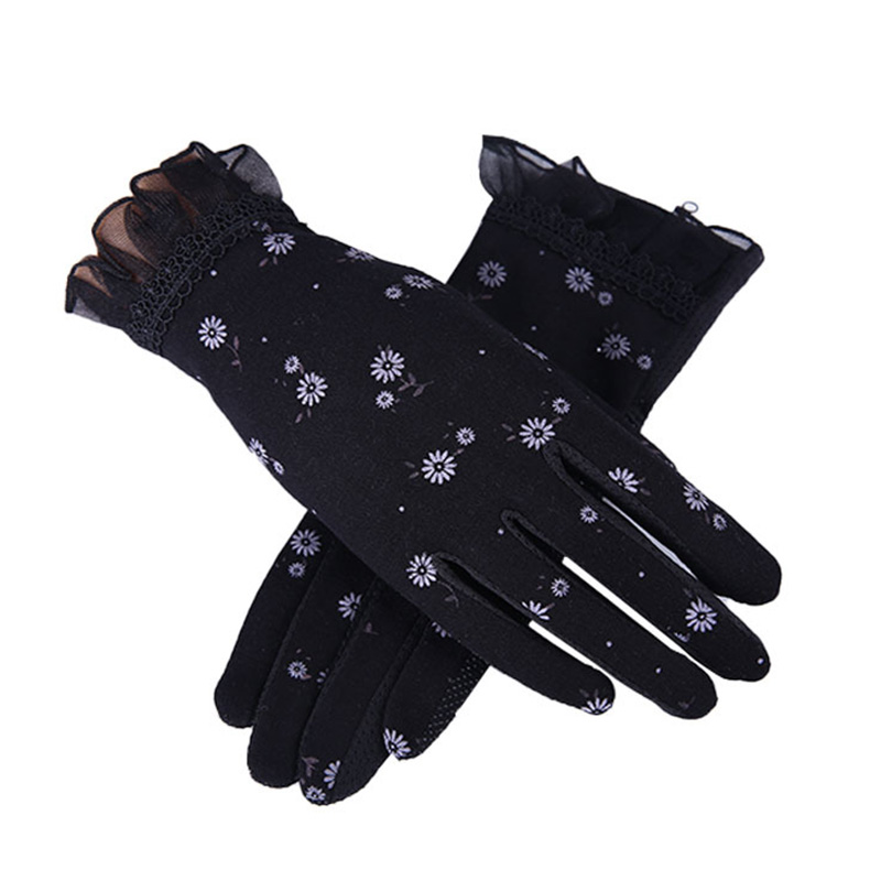 Women Autumn Sunscreen Gloves Slip Resistant Driving Glove Spring Summer Girls Thin Cotton Lace Anti Uv Touch Screen Mittens
