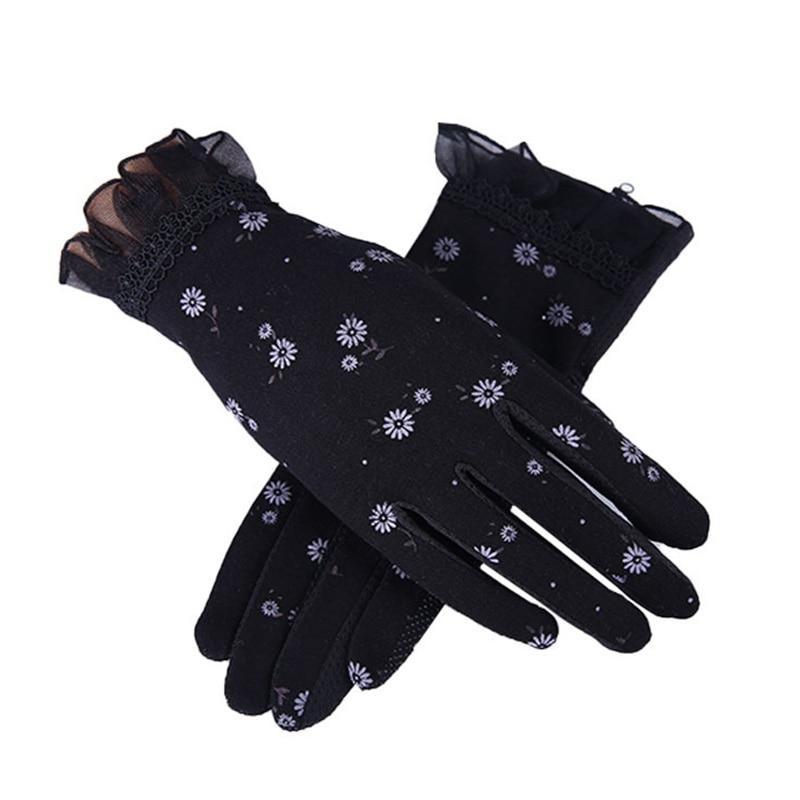 Women Autumn Sunscreen Gloves Slip Resistant Driving Glove Spring Summer Girls Thin Cotton Lace Anti Uv Touch Screen Mittens