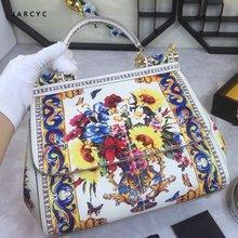 Luxury Italy Brand Flower Painted Bags Lady Genuine Cow Leather Shoulder Bags Handbag Original Designer Famous Totes bolso mujer